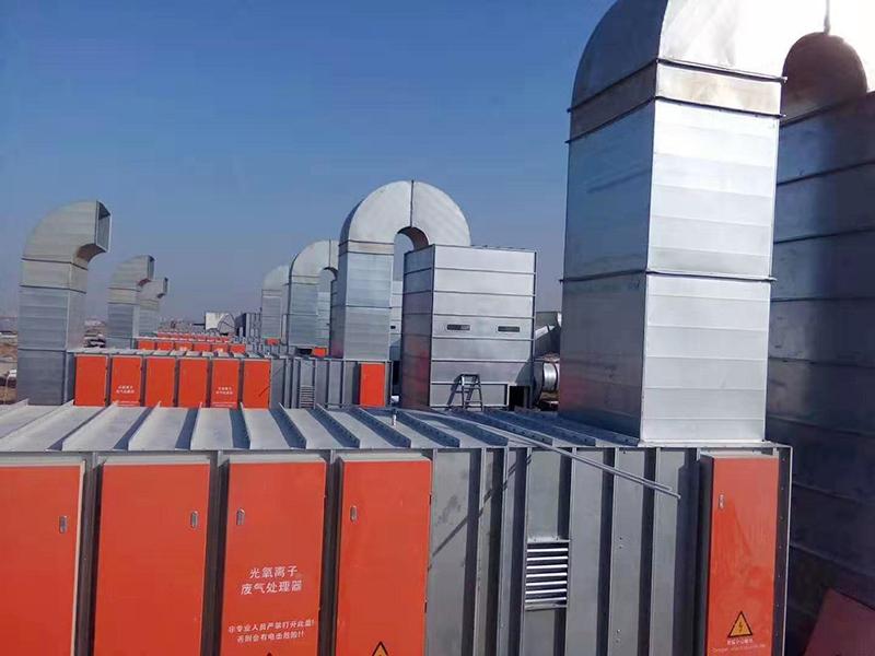长虹包装四套光氧+活性炭废气处理设备